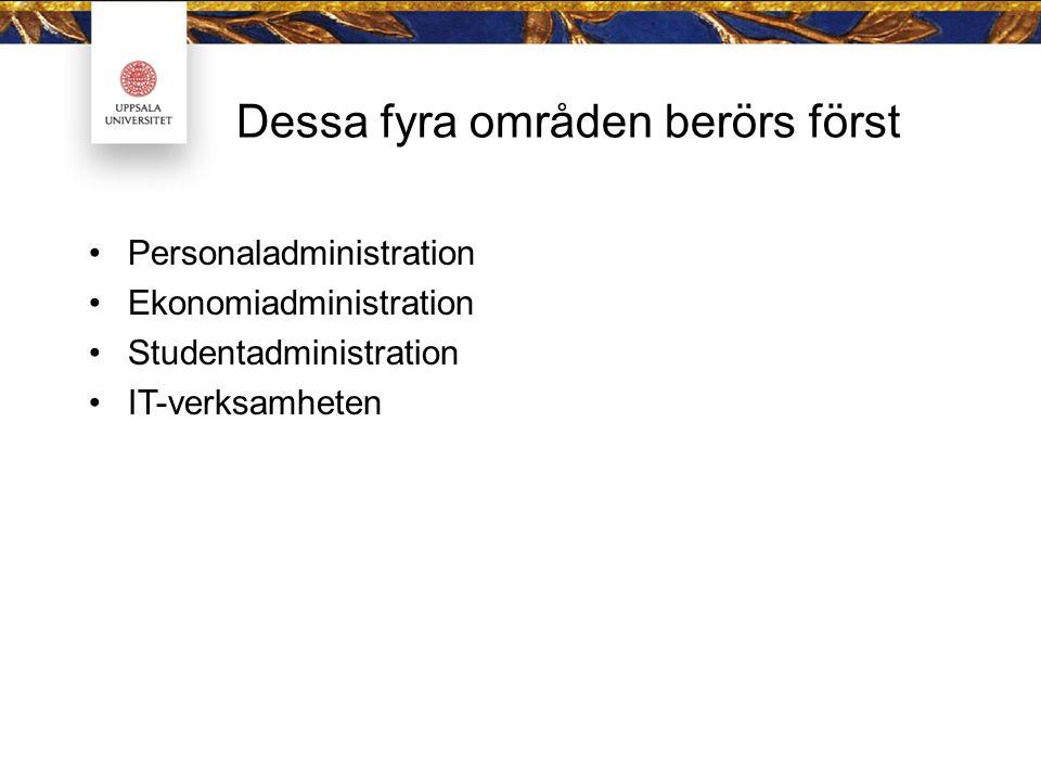Dessa fyra områden berörs först Personaladministration Ekonomiadministration Studentadministration IT-verksamheten