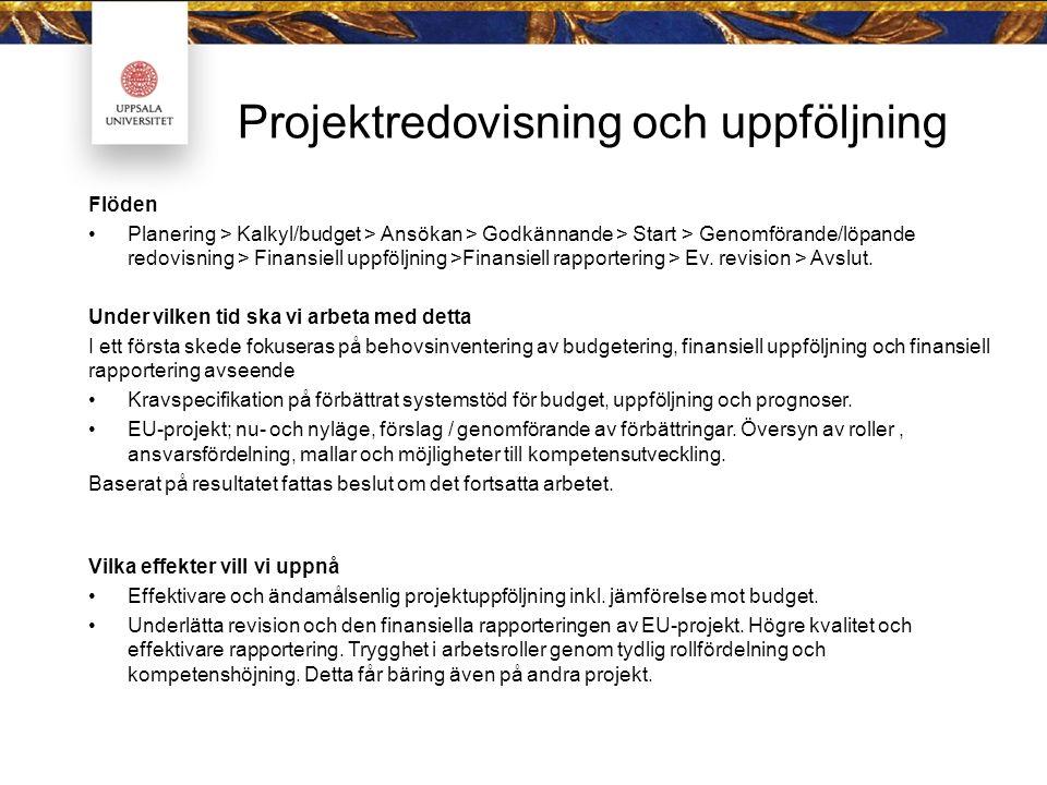 Projektredovisning och uppföljning Flöden Planering > Kalkyl/budget > Ansökan > Godkännande > Start > Genomförande/löpande redovisning > Finansiell up