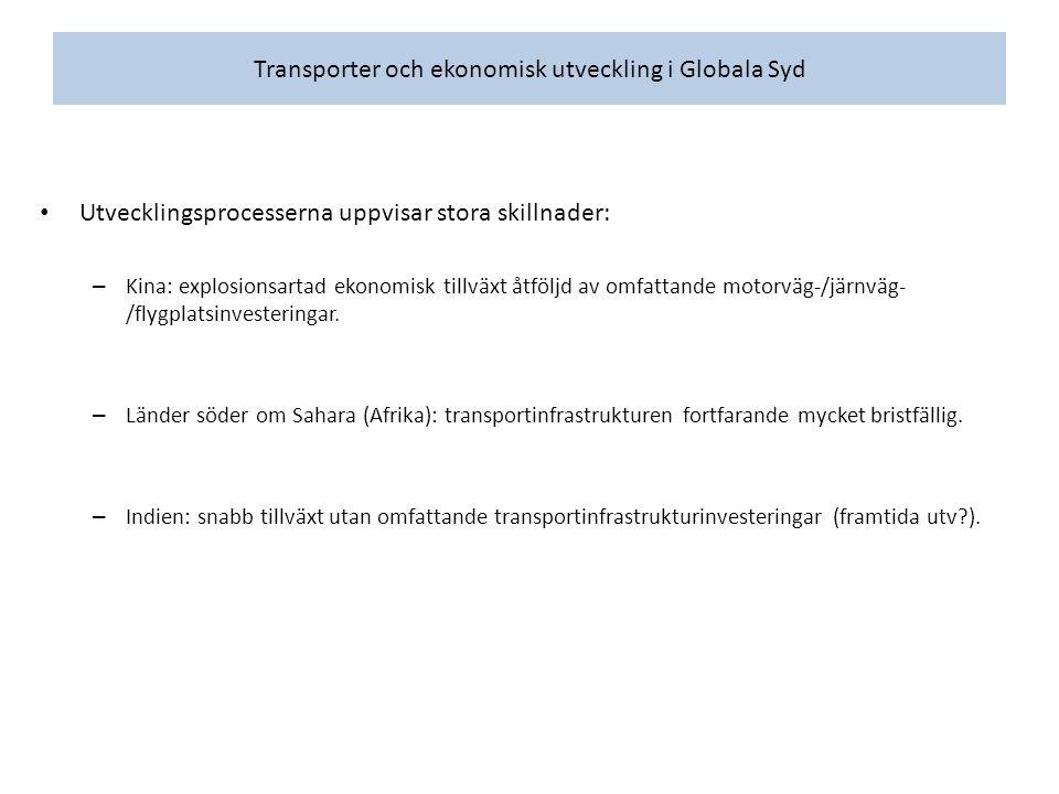 Skillnad mellan sektorer: olika transportintensitetsnivåer.