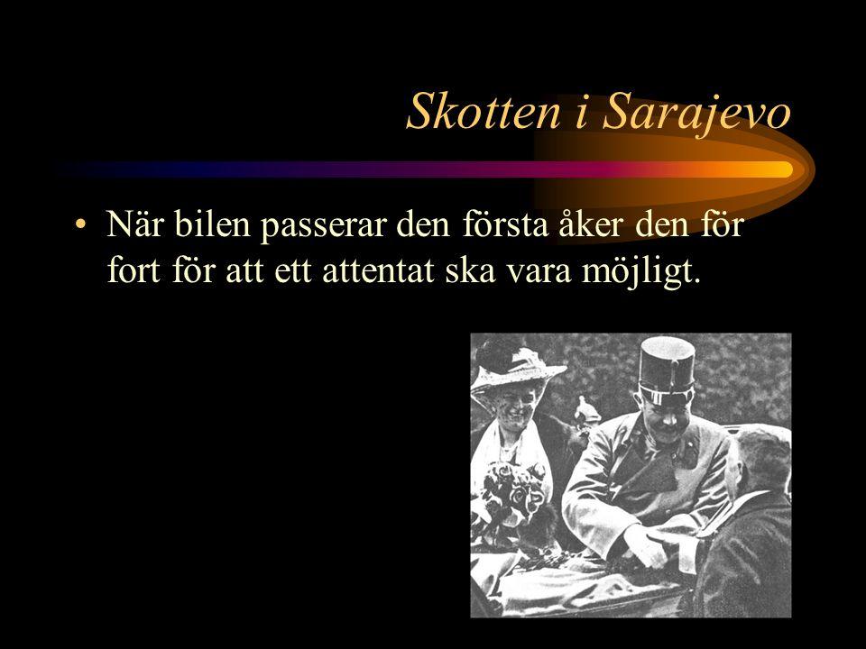 Skotten i Sarajevo Utefter den 500 meter långa vägen ärkehertigen måste åka från stationen till stadshuset står 7 män redo med vapen.