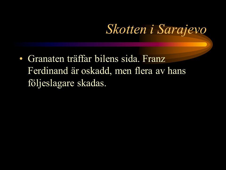 Skotten i Sarajevo Men när den passerar kompositören Gabrinovic kastar denne sin granat.