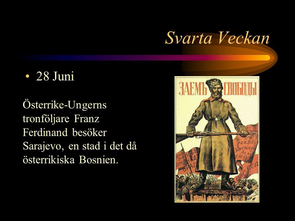 28 Juni Österrike-Ungerns tronföljare Franz Ferdinand besöker Sarajevo, en stad i det då österrikiska Bosnien.