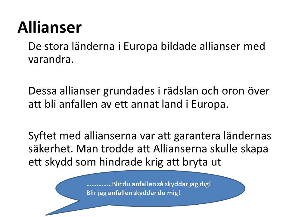 Allianser De stora länderna i Europa bildade allianser med varandra. Dessa allianser grundades i rädslan och oron över att bli anfallen av ett annat l