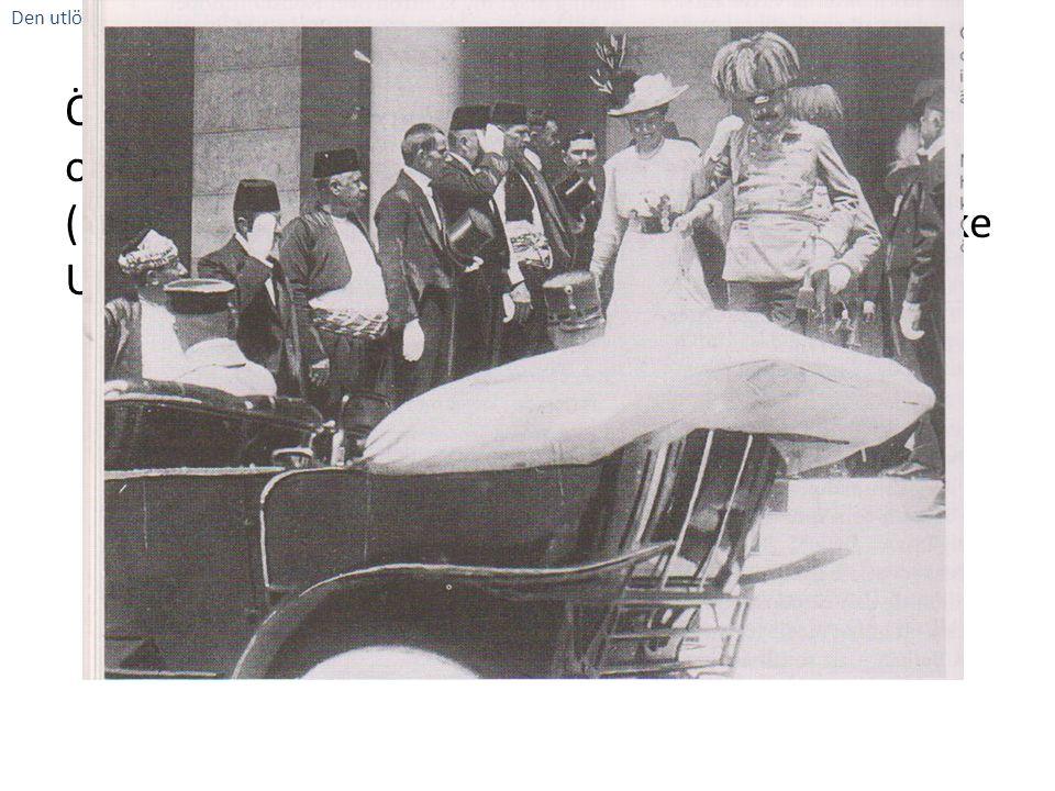 Österikrike Ungerns kronprins Franz Ferdinand och hans fru Sophie är på stadsbesök i Sarajevo (huvudstad i Bosnien-Hercegovina som Österrike Ungern ny