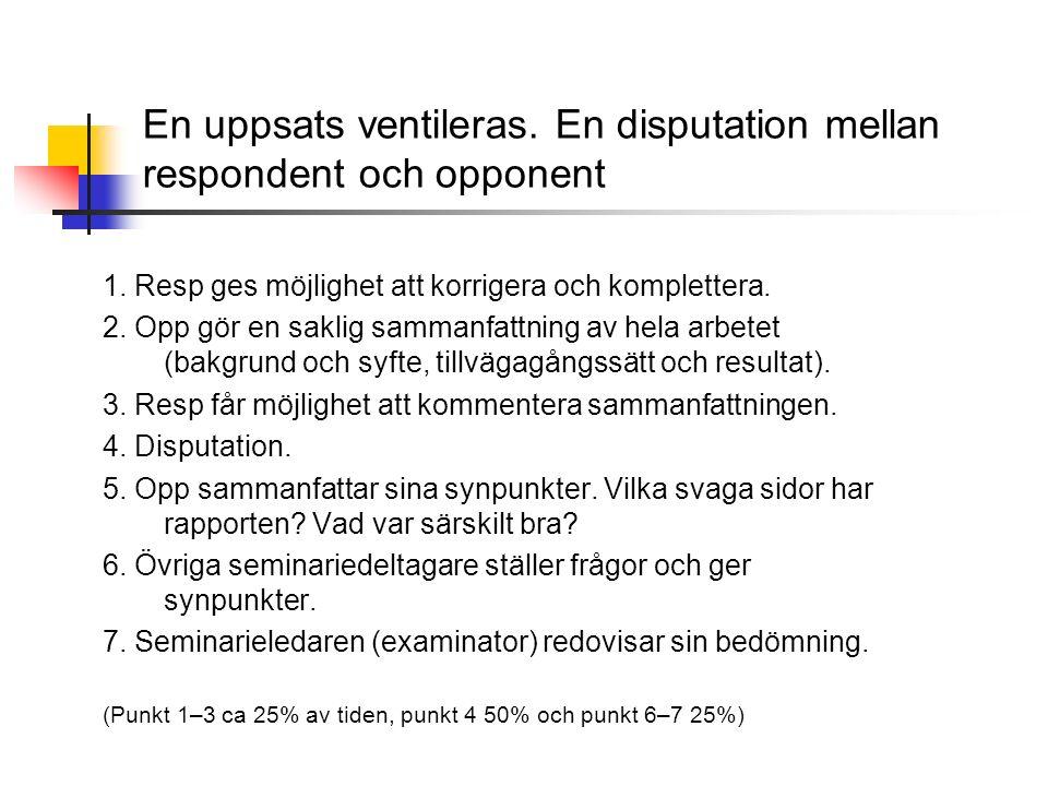 En uppsats ventileras.En disputation mellan respondent och opponent 1.