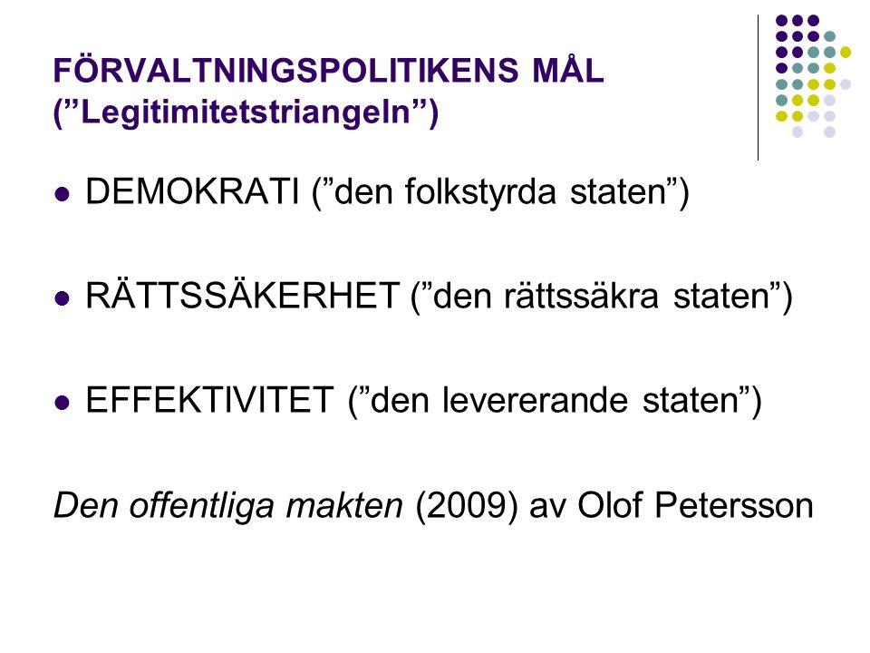 FÖRVALTNINGSPOLITIKENS MÅL ( Legitimitetstriangeln ) DEMOKRATI ( den folkstyrda staten ) RÄTTSSÄKERHET ( den rättssäkra staten ) EFFEKTIVITET ( den levererande staten ) Den offentliga makten (2009) av Olof Petersson