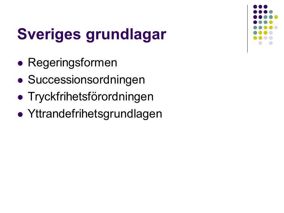 Sveriges grundlagar Regeringsformen Successionsordningen Tryckfrihetsförordningen Yttrandefrihetsgrundlagen