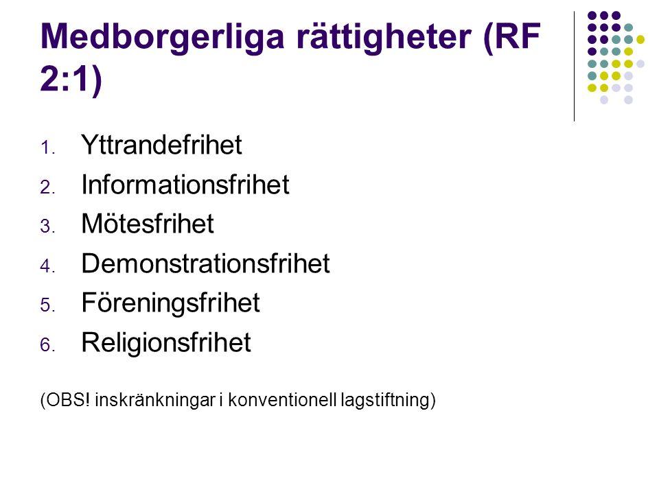 Medborgerliga rättigheter (RF 2:1) 1. Yttrandefrihet 2.
