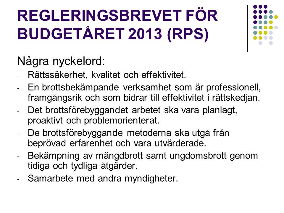 REGLERINGSBREVET FÖR BUDGETÅRET 2013 (RPS) Några nyckelord: - Rättssäkerhet, kvalitet och effektivitet.