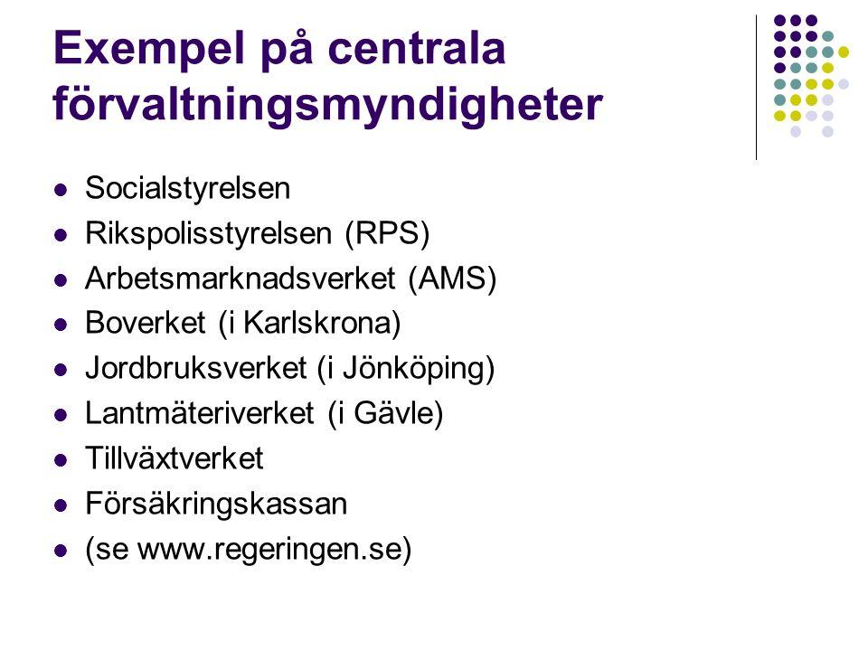 Exempel på centrala förvaltningsmyndigheter Socialstyrelsen Rikspolisstyrelsen (RPS) Arbetsmarknadsverket (AMS) Boverket (i Karlskrona) Jordbruksverket (i Jönköping) Lantmäteriverket (i Gävle) Tillväxtverket Försäkringskassan (se www.regeringen.se)