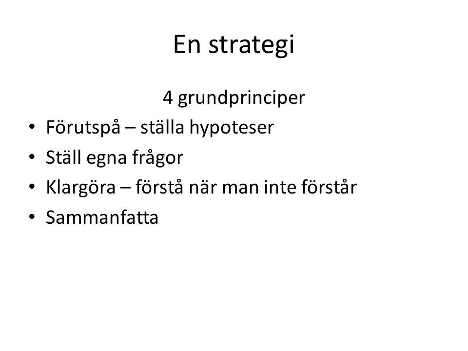 En strategi 4 grundprinciper Förutspå – ställa hypoteser Ställ egna frågor Klargöra – förstå när man inte förstår Sammanfatta