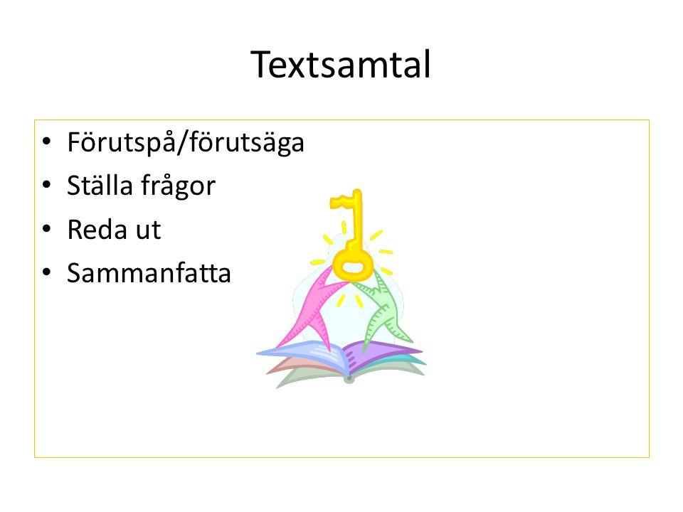 Textsamtal Förutspå/förutsäga Ställa frågor Reda ut Sammanfatta