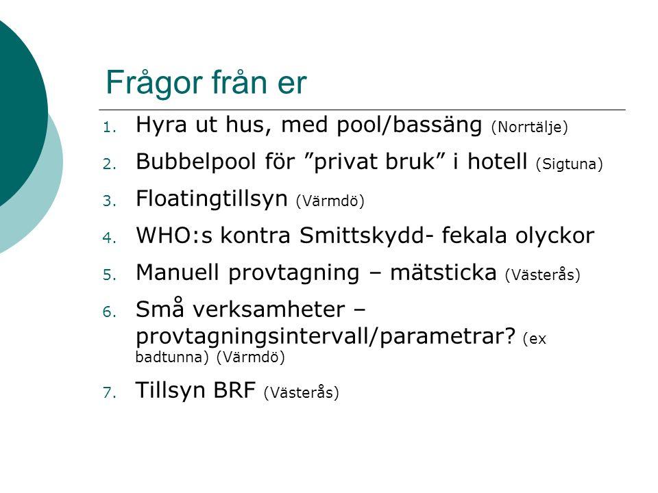 """Frågor från er 1. Hyra ut hus, med pool/bassäng (Norrtälje) 2. Bubbelpool för """"privat bruk"""" i hotell (Sigtuna) 3. Floatingtillsyn (Värmdö) 4. WHO:s ko"""