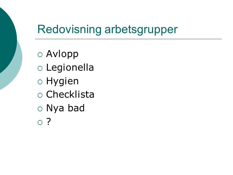 Redovisning arbetsgrupper  Avlopp  Legionella  Hygien  Checklista  Nya bad  ?