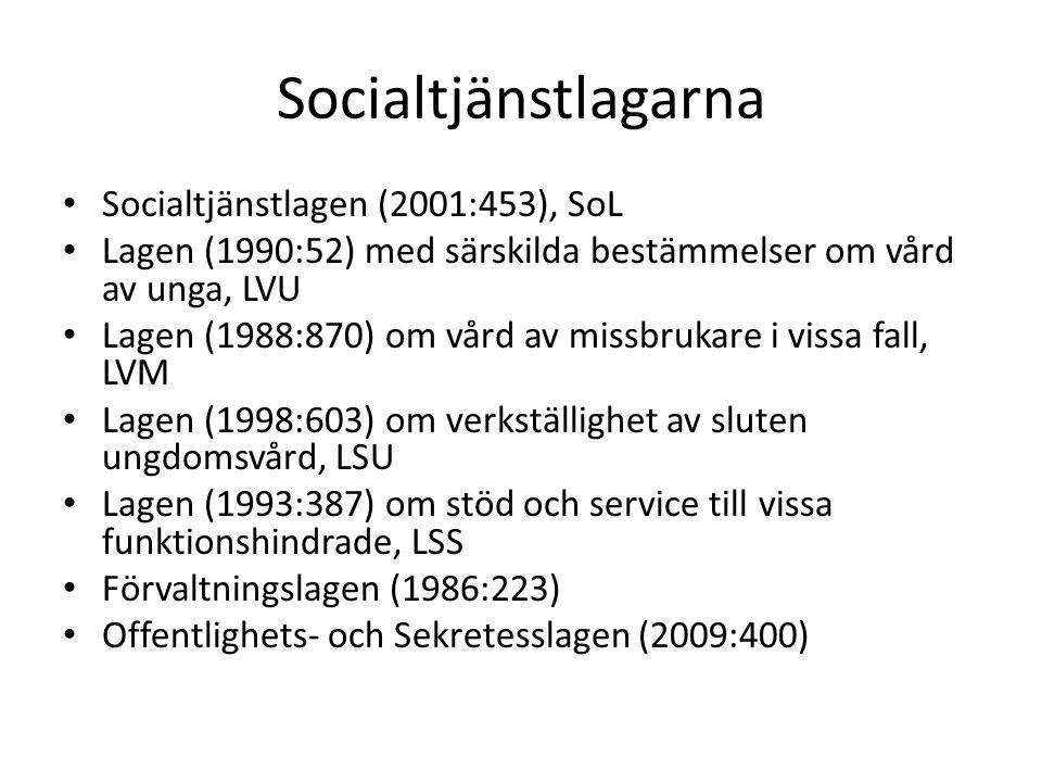 Socialtjänstlagarna Socialtjänstlagen (2001:453), SoL Lagen (1990:52) med särskilda bestämmelser om vård av unga, LVU Lagen (1988:870) om vård av missbrukare i vissa fall, LVM Lagen (1998:603) om verkställighet av sluten ungdomsvård, LSU Lagen (1993:387) om stöd och service till vissa funktionshindrade, LSS Förvaltningslagen (1986:223) Offentlighets- och Sekretesslagen (2009:400)