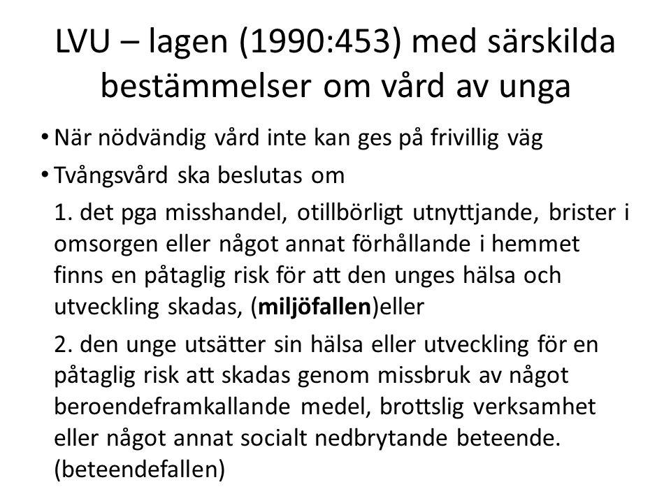 LVU – lagen (1990:453) med särskilda bestämmelser om vård av unga När nödvändig vård inte kan ges på frivillig väg Tvångsvård ska beslutas om 1.