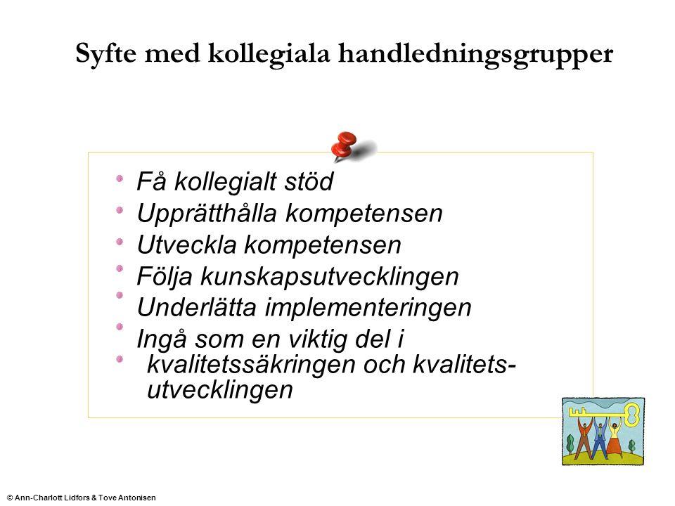Syfte med kollegiala handledningsgrupper Få kollegialt stöd Upprätthålla kompetensen Utveckla kompetensen Följa kunskapsutvecklingen Underlätta implem