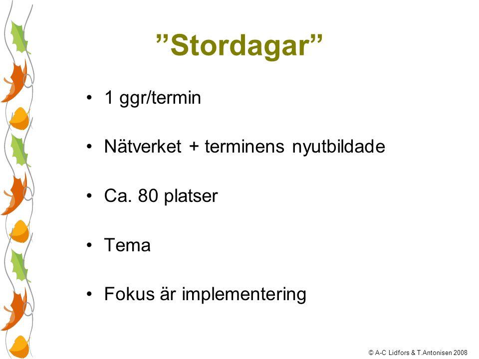 """""""Stordagar"""" 1 ggr/termin Nätverket + terminens nyutbildade Ca. 80 platser Tema Fokus är implementering © A-C Lidfors & T.Antonisen 2008"""