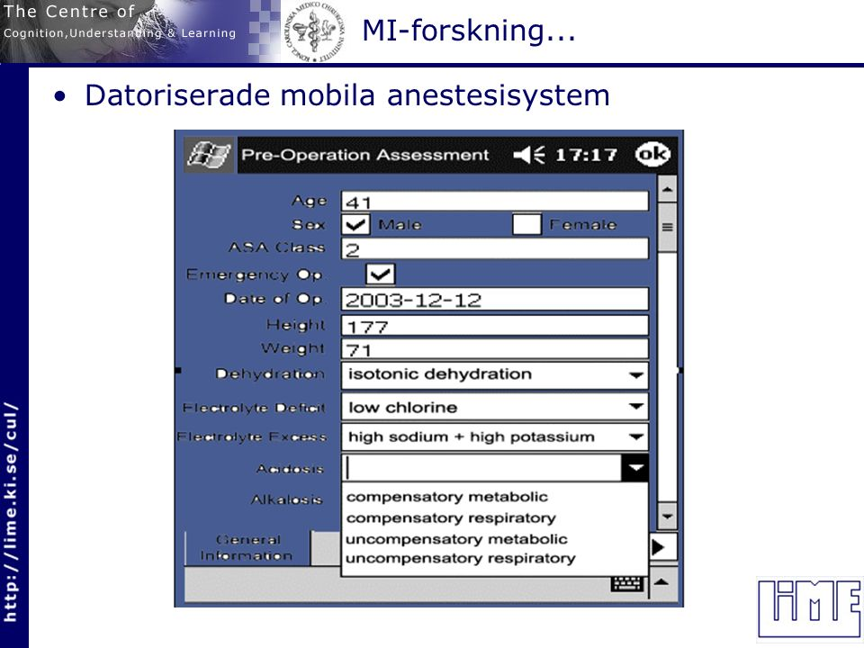 MI-forskning... Datoriserade mobila anestesisystem