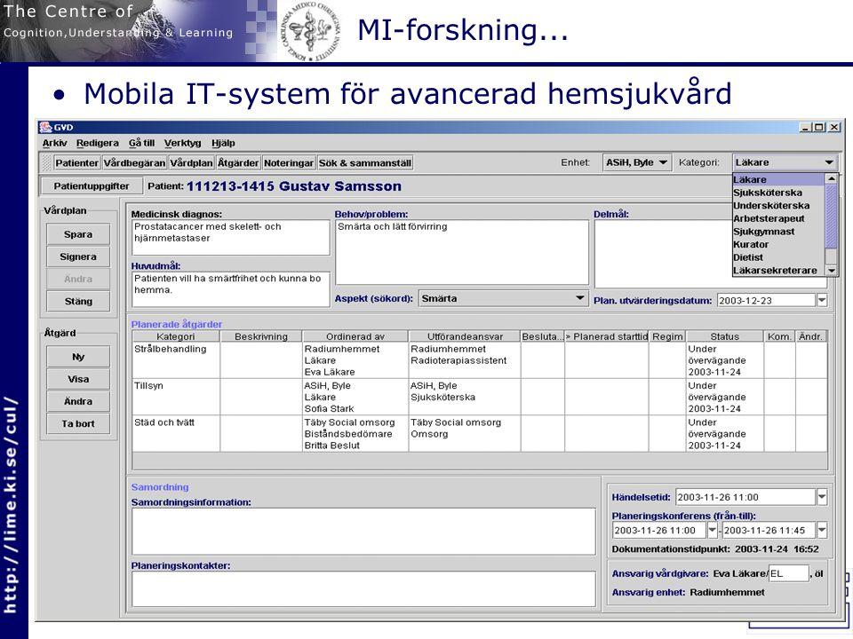 MI-forskning... Mobila IT-system för avancerad hemsjukvård MobiSams-projektet