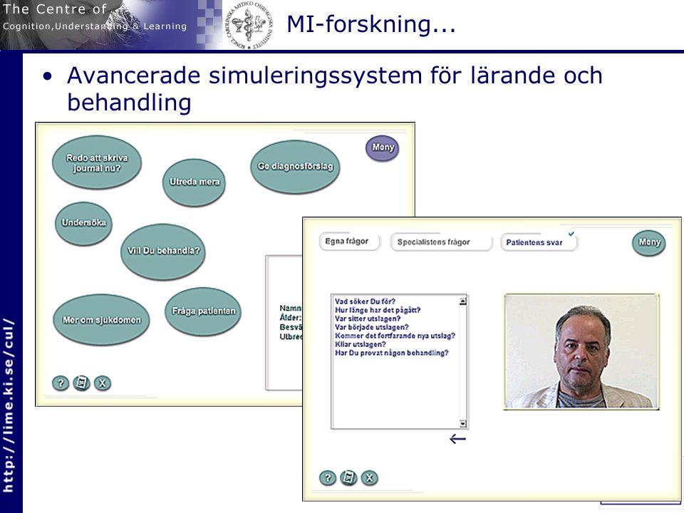 MI-forskning... Avancerade simuleringssystem för lärande och behandling