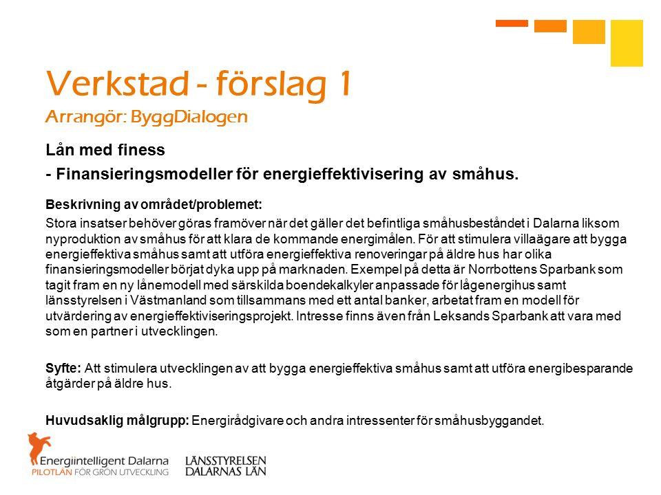 Verkstad - förslag 1 Arrangör: ByggDialogen Lån med finess - Finansieringsmodeller för energieffektivisering av småhus.