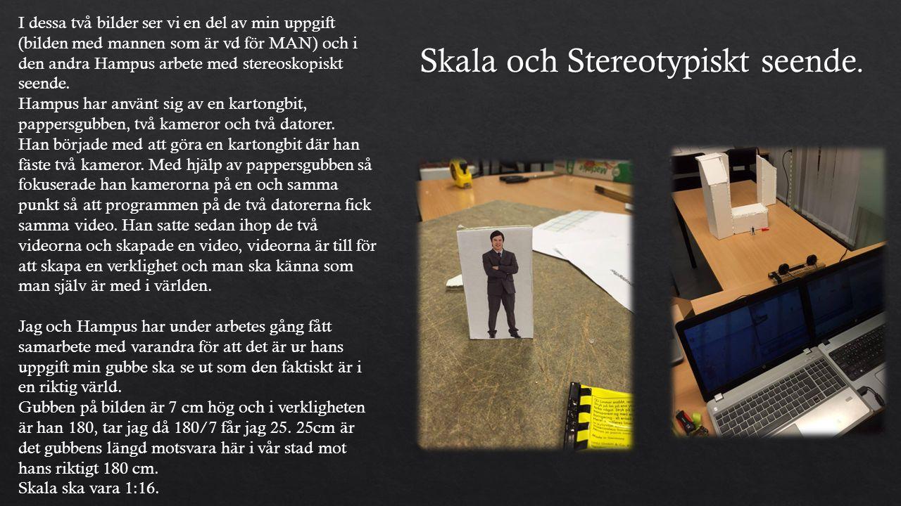 I dessa två bilder ser vi en del av min uppgift (bilden med mannen som är vd för MAN) och i den andra Hampus arbete med stereoskopiskt seende.