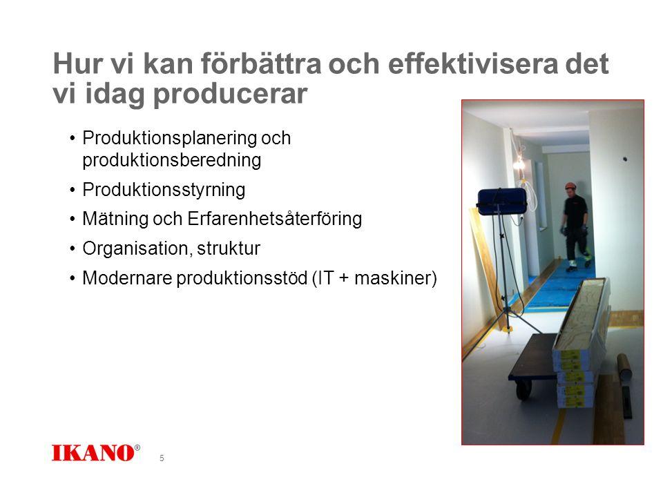 Hur vi kan förbättra och effektivisera det vi idag producerar Produktionsplanering och produktionsberedning Produktionsstyrning Mätning och Erfarenhetsåterföring Organisation, struktur Modernare produktionsstöd (IT + maskiner) 5