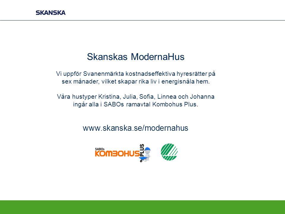 Skanskas ModernaHus Vi uppför Svanenmärkta kostnadseffektiva hyresrätter på sex månader, vilket skapar rika liv i energisnåla hem.