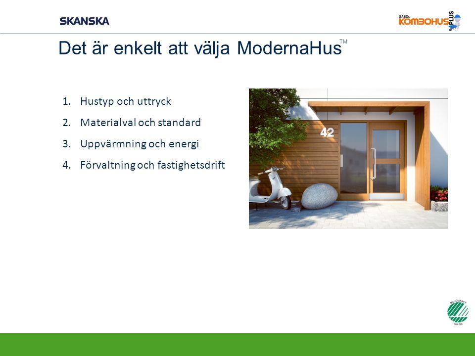 Det är enkelt att välja ModernaHus 1.Hustyp och uttryck 2.Materialval och standard 3.Uppvärmning och energi 4.Förvaltning och fastighetsdrift TM