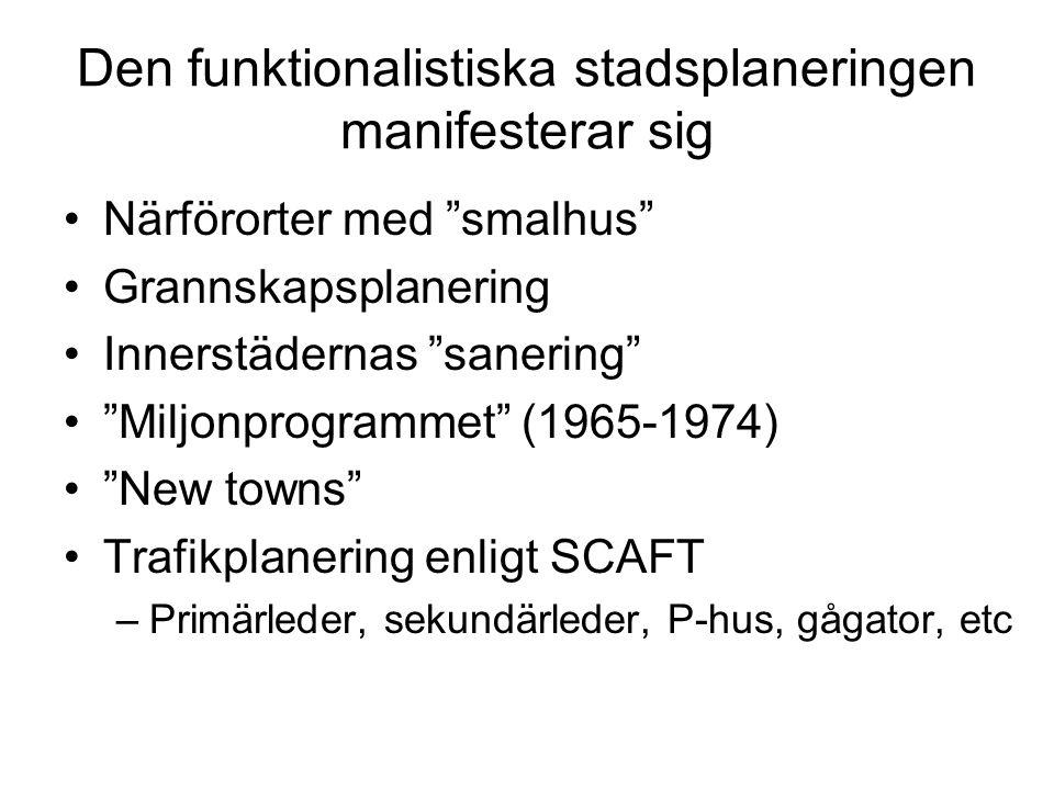 """Den funktionalistiska stadsplaneringen manifesterar sig Närförorter med """"smalhus"""" Grannskapsplanering Innerstädernas """"sanering"""" """"Miljonprogrammet"""" (19"""