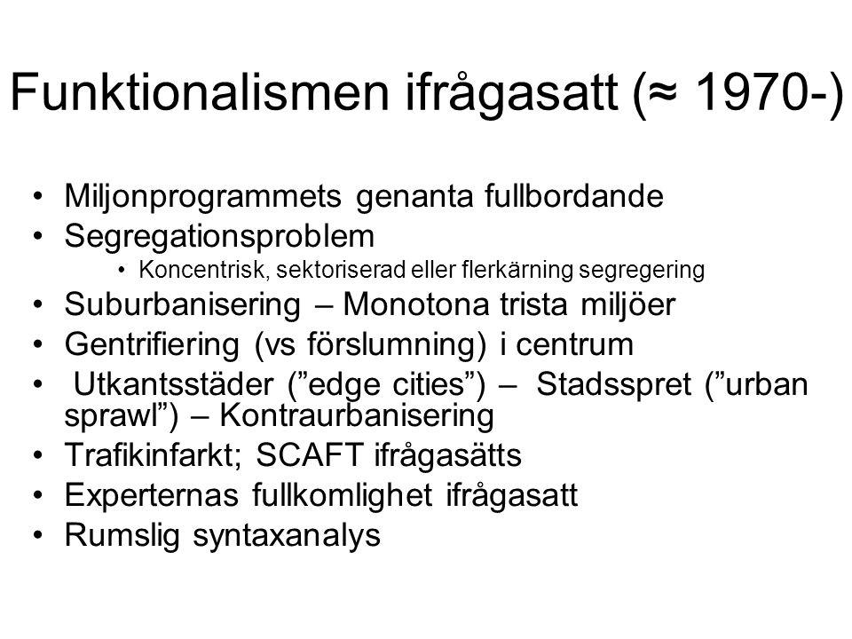Funktionalismen ifrågasatt (≈ 1970-) Miljonprogrammets genanta fullbordande Segregationsproblem Koncentrisk, sektoriserad eller flerkärning segregerin