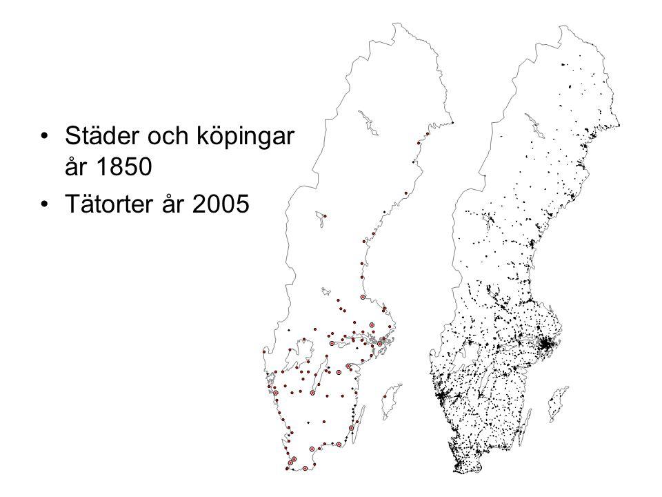 Städer och köpingar år 1850 Tätorter år 2005