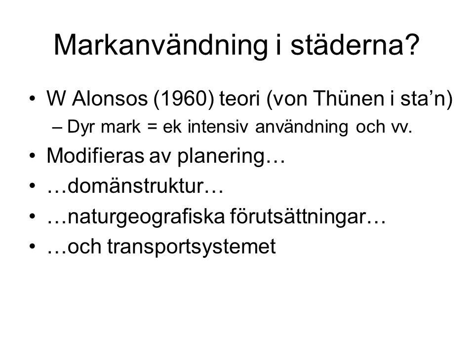 Markanvändning i städerna? W Alonsos (1960) teori (von Thünen i sta'n) –Dyr mark = ek intensiv användning och vv. Modifieras av planering… …domänstruk