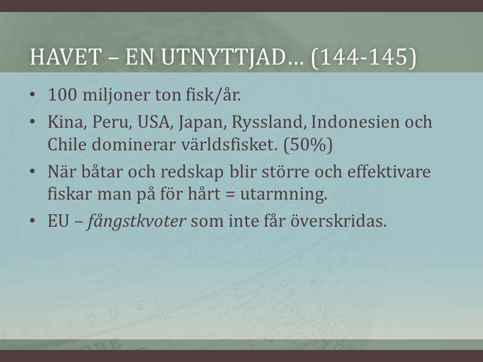 HAVET – EN UTNYTTJAD… (144-145)HAVET – EN UTNYTTJAD… (144-145) 100 miljoner ton fisk/år.