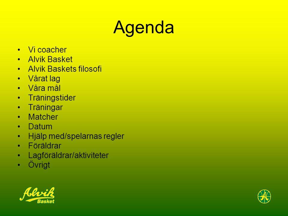 Agenda Vi coacher Alvik Basket Alvik Baskets filosofi Vårat lag Våra mål Träningstider Träningar Matcher Datum Hjälp med/spelarnas regler Föräldrar Lagföräldrar/aktiviteter Övrigt