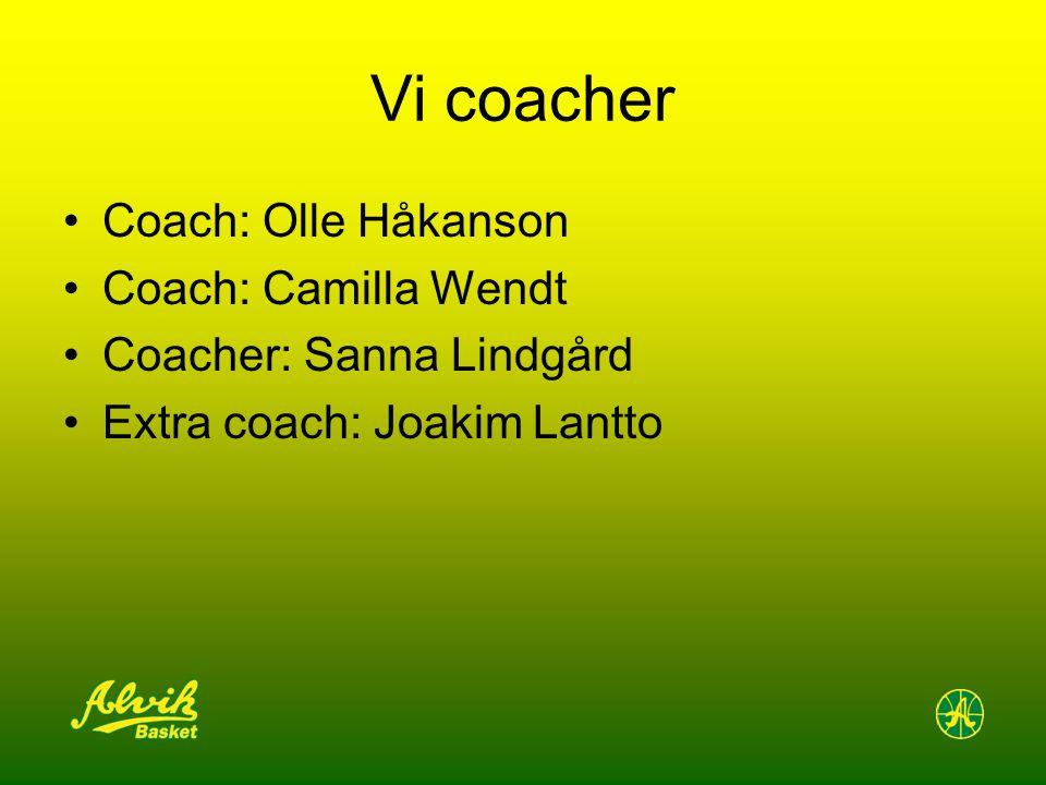 Vi coacher Coach: Olle Håkanson Coach: Camilla Wendt Coacher: Sanna Lindgård Extra coach: Joakim Lantto