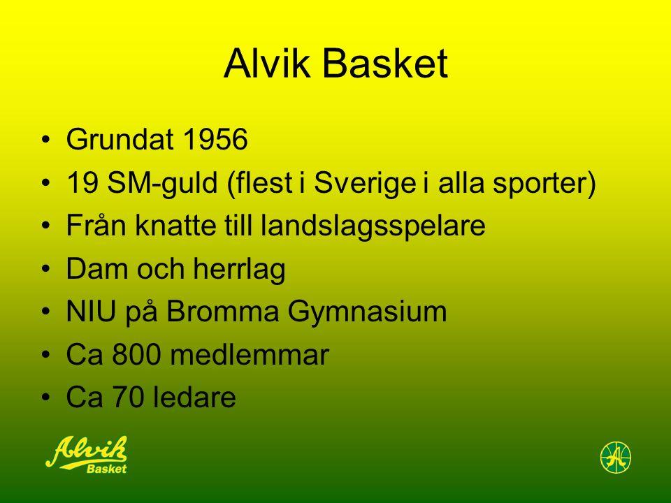 Alvik Basket Grundat 1956 19 SM-guld (flest i Sverige i alla sporter) Från knatte till landslagsspelare Dam och herrlag NIU på Bromma Gymnasium Ca 800 medlemmar Ca 70 ledare