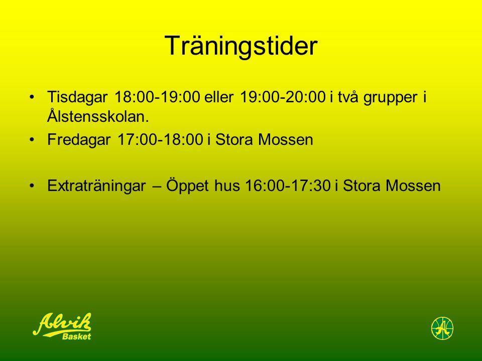 Träningstider Tisdagar 18:00-19:00 eller 19:00-20:00 i två grupper i Ålstensskolan.