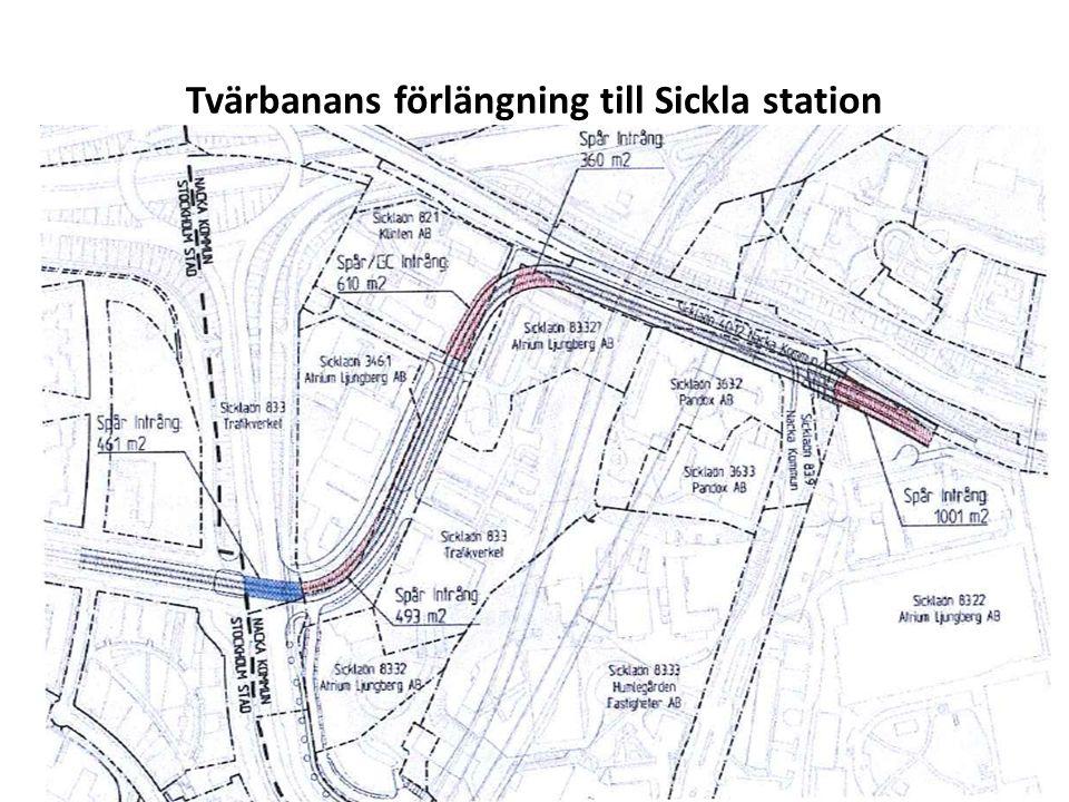 Tvärbanans förlängning till Sickla station