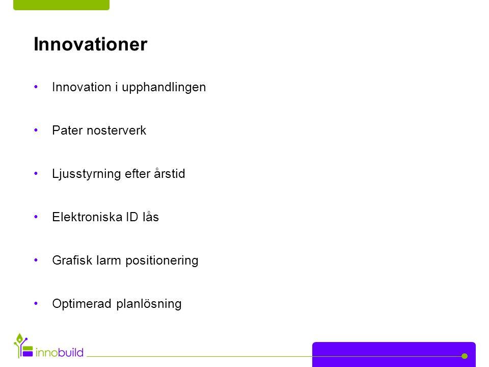 Innovationer Innovation i upphandlingen Pater nosterverk Ljusstyrning efter årstid Elektroniska ID lås Grafisk larm positionering Optimerad planlösning