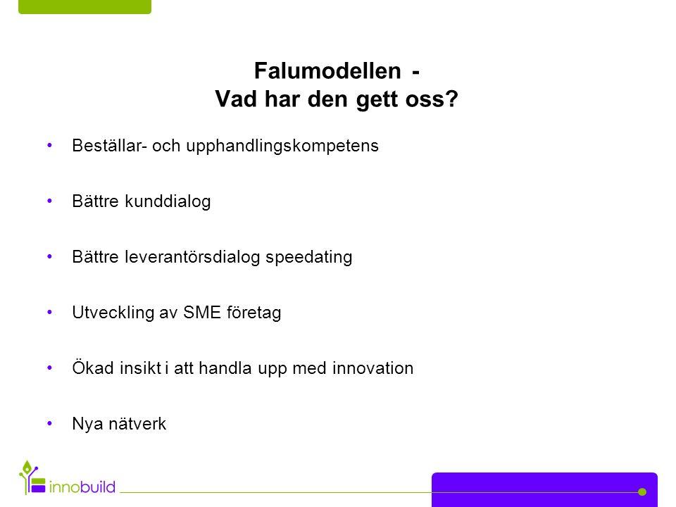 Falumodellen - Vad har den gett oss? Beställar- och upphandlingskompetens Bättre kunddialog Bättre leverantörsdialog speedating Utveckling av SME före