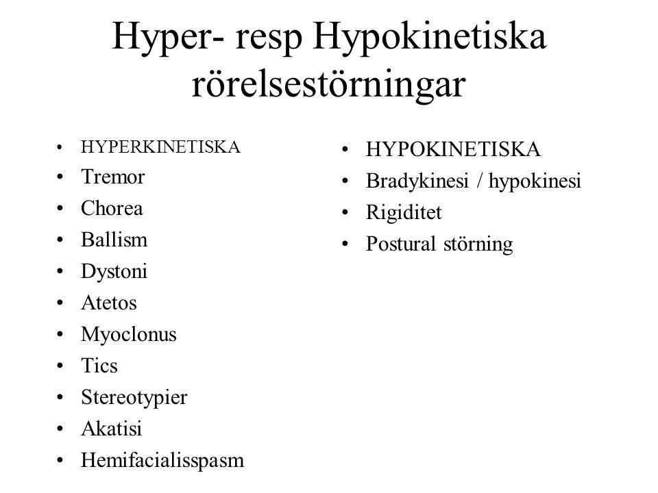 Hyper- resp Hypokinetiska rörelsestörningar HYPERKINETISKA Tremor Chorea Ballism Dystoni Atetos Myoclonus Tics Stereotypier Akatisi Hemifacialisspasm HYPOKINETISKA Bradykinesi / hypokinesi Rigiditet Postural störning