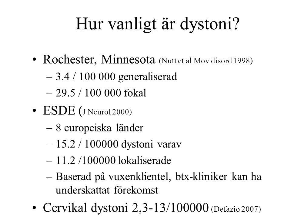 Hur vanligt är dystoni? Rochester, Minnesota (Nutt et al Mov disord 1998) –3.4 / 100 000 generaliserad –29.5 / 100 000 fokal ESDE ( J Neurol 2000) –8