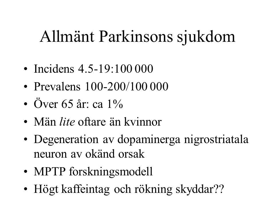 Allmänt Parkinsons sjukdom Incidens 4.5-19:100 000 Prevalens 100-200/100 000 Över 65 år: ca 1% Män lite oftare än kvinnor Degeneration av dopaminerga
