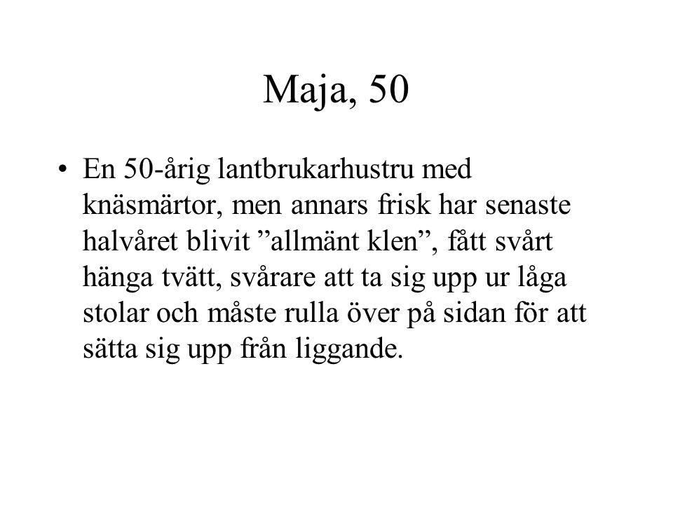 """Maja, 50 En 50-årig lantbrukarhustru med knäsmärtor, men annars frisk har senaste halvåret blivit """"allmänt klen"""", fått svårt hänga tvätt, svårare att"""
