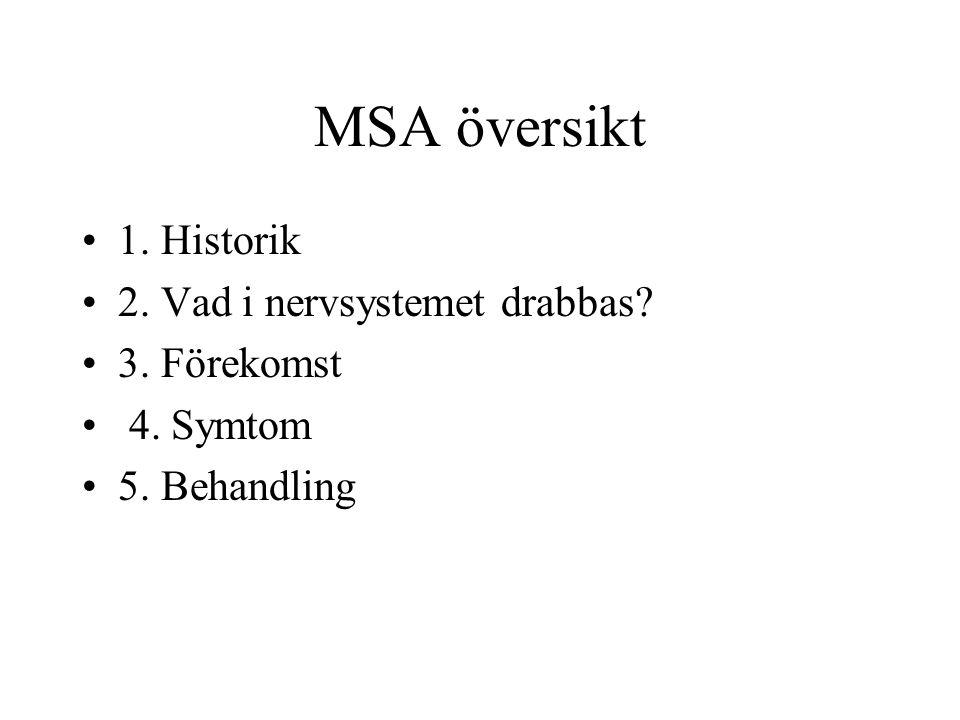 MSA översikt 1. Historik 2. Vad i nervsystemet drabbas? 3. Förekomst 4. Symtom 5. Behandling