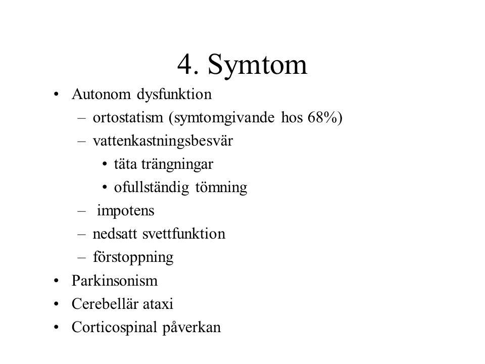 4. Symtom Autonom dysfunktion –ortostatism (symtomgivande hos 68%) –vattenkastningsbesvär täta trängningar ofullständig tömning – impotens –nedsatt sv