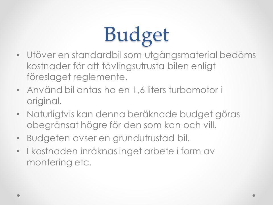 Budget Utöver en standardbil som utgångsmaterial bedöms kostnader för att tävlingsutrusta bilen enligt föreslaget reglemente.