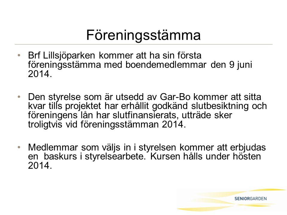 Föreningsstämma Brf Lillsjöparken kommer att ha sin första föreningsstämma med boendemedlemmar den 9 juni 2014.